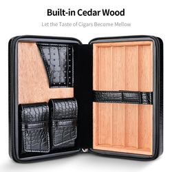 CIGARLOONG étui à cigares en bois de cèdre intégré voyage Portable rangement en cuir 4 cigares boîte à cigares (sans coupe-briquet)