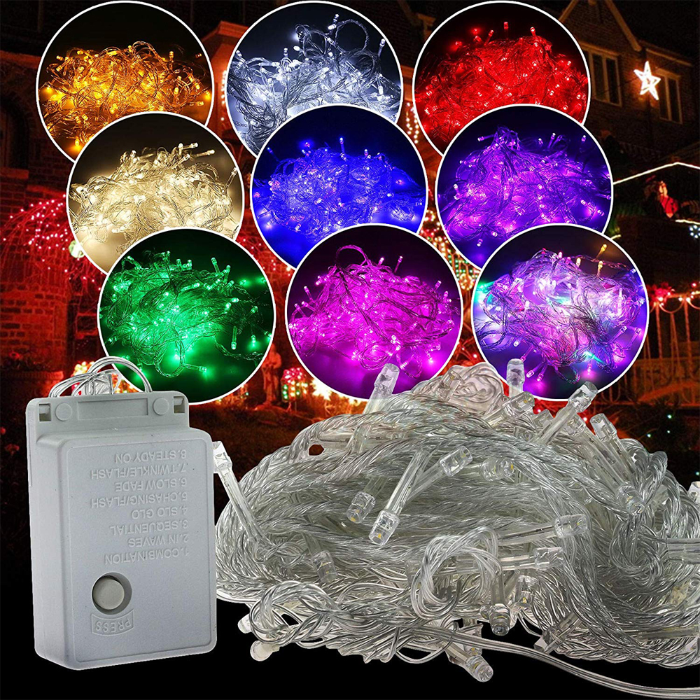 Twinkle Star 100M Indoor String Lights, Plug In String Lights 8 Modes Waterproof For Xmas Tree Holiday Wedding Party Decoration