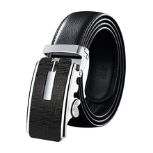 Business minimalist style Cow Leather Genuine Leather Belt Men Genuine Luxury Leather Belts Metal Automatic Buckle cheap Adult Split Leather CN(Origin) 3 5cm Casual PD02 alloy Cowhide