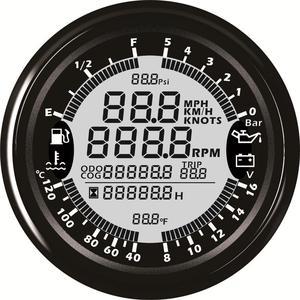 Image 4 - אוטומטי משולב מד שינוי 85mm GPS מד מהירות Tach דלק מד 8 16v וולט מד טמפ מים מטר 0 5Bar שמן לחץ