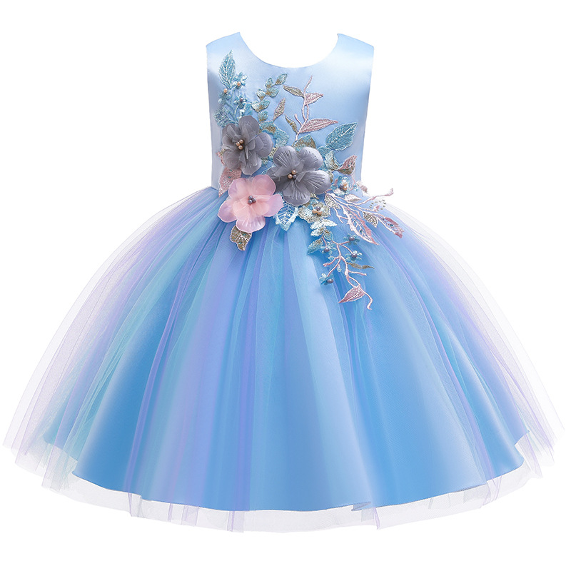 Elegant Flower Girls Dress Kids Party Dresses For Girls Wedding Dress Children Easter Carnival Costume For Girls Princess Dress