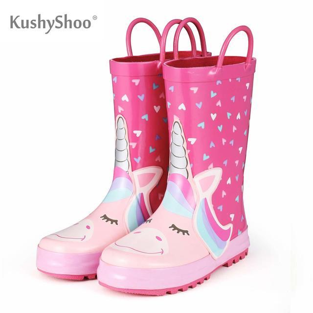 KomForme Kids Rain Boots Girl Pink Heart Unicorn Rubber Boots Waterproof Overshoes Water Shoes Rubber Shoes Kids Boots Girls