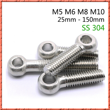 10-20pcs/lot stainless steel slip knot screw joint bolt sheep eye ring fish with hole Din444