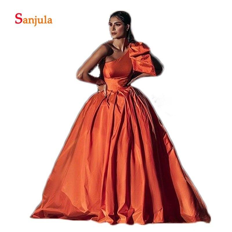Une épaule Orange taffetas robes de soirée formelles longues femmes africaines robes de soirée simples avec des décorations D1312