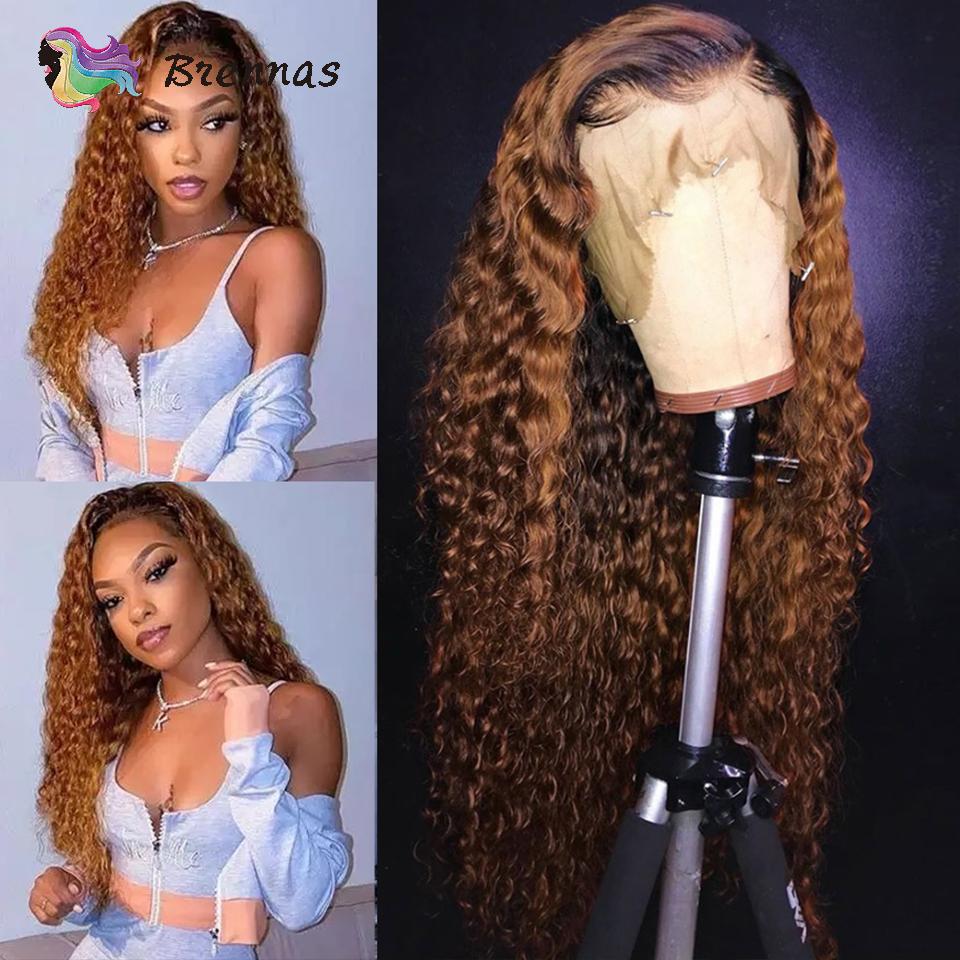 Deep Wave Lace Front Wig For Black Women 1b30 Ombre 13x6 Lace Wig  Bleached Knots Brazilian Remy Hair Lace Front Human Hair Wigs