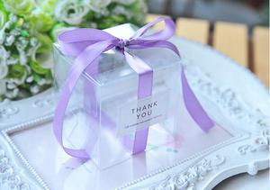 Image 3 - 5x5x5 см прозрачные коробки для конфет из ПВХ, свадебные украшения, товары для вечеринок, Подарочная коробка, детские подарки, коробка для конфет с лентой