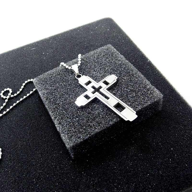 Collana croce per Gli Uomini Gioielli Moda In Acciaio Inox Cristiana Religiosa HZ Nero Croce Gotica Del Pendente & Collana per I Regali Degli Uomini