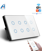 HUANGXING, 1/2/3/4/8 Gang Smart WIFI wall switch, Crystal Glass Wireless Light switch,Tuya App remote Switch, With google alexa