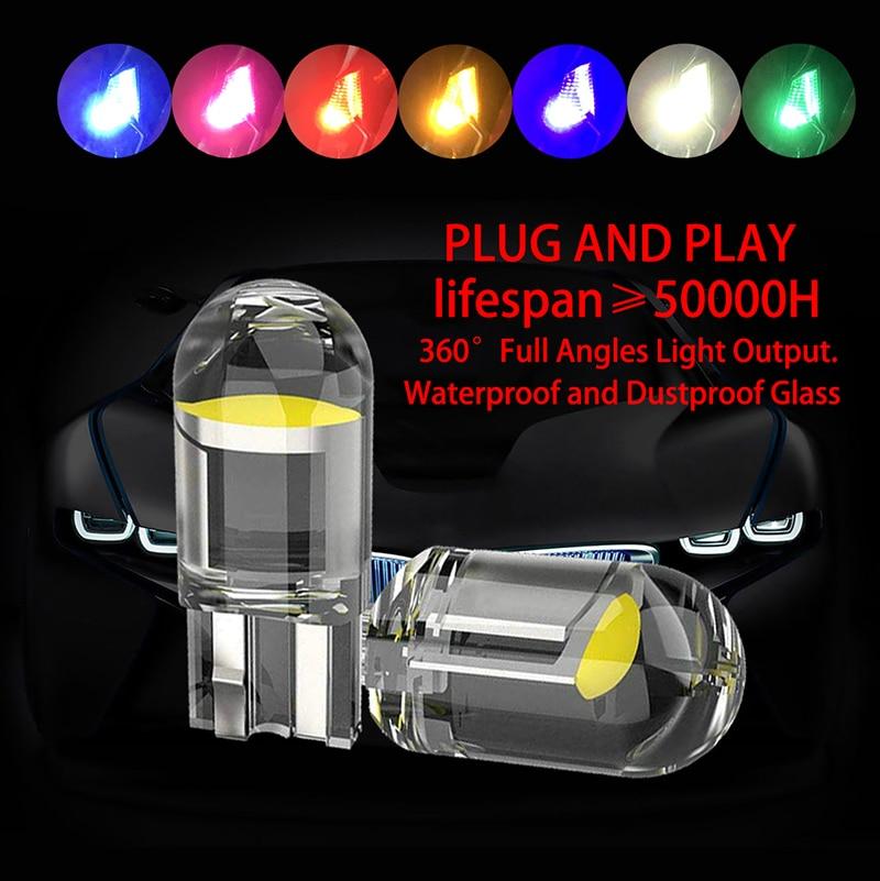 T10 светодиодный светильник s 2/10 шт. W5W 194 Стекло Корпус светодиодный светодиодные лампы автомобиль белые зеленый синий и красный цвета фонарь...