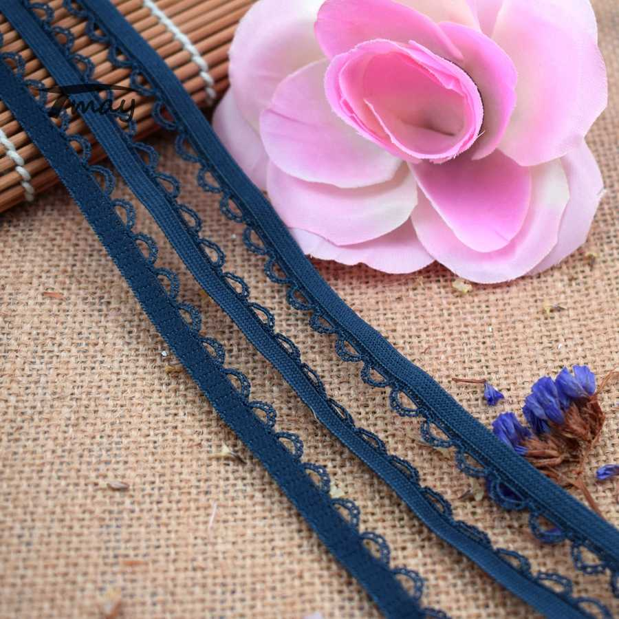 """#1543 Navy Blu Volant di Pizzo Tessuto 8 yards/lot 10MM(3/8 """") pizzo elastico Trim Nastro Del Bordo Del Merletto per il bambino della ragazza hairbands"""