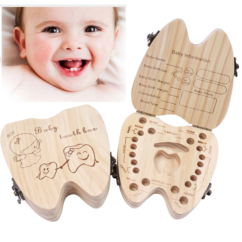 Wood English Baby Tooth Box Organizer Milk Teeth Storage Collect Teeth Umbilica Save Gift Organizer Storage Boys Girls Souvenir