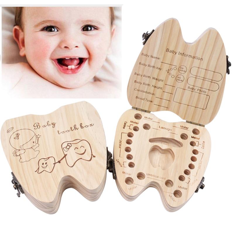 Wood English Baby Tooth Box Organizer Milk Teeth Storage Collect Teeth Umbilica Save Gift Organizer Storage Boys Girls Souvenir