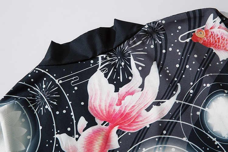 Japanischen Kimono Traditionelle Print Yukata Männer Frauen Kimonos Strickjacke Männer Femme Mantel Kimono Cosplay Kostüme Unisex Freizeit Shirts