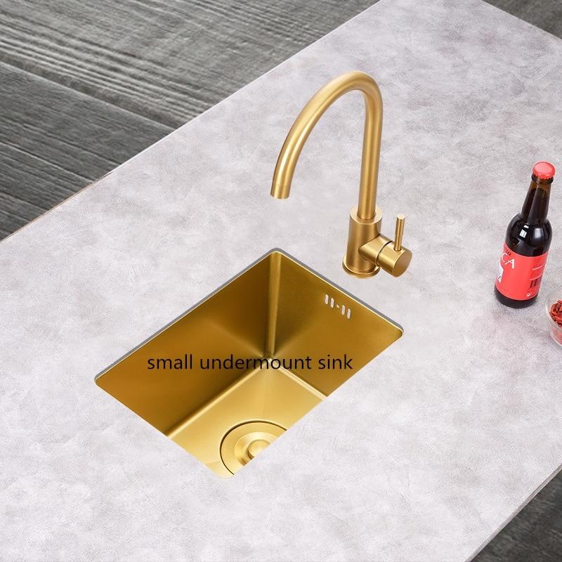 Gold Balcony Small Apartment Bar Small Single Slot Kitchen Sink Undermount  Brushed Sink Mini Kitchen Sinks Soap Dispenser