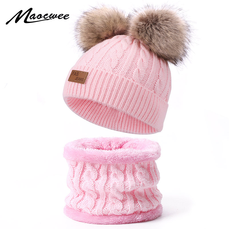 Winter Crochet Warm Scarf Hat Sets For Children With Faux Fur Pom Pom Solid Color Cute Beanies Hats Ring Scarf Set For Girl Boy