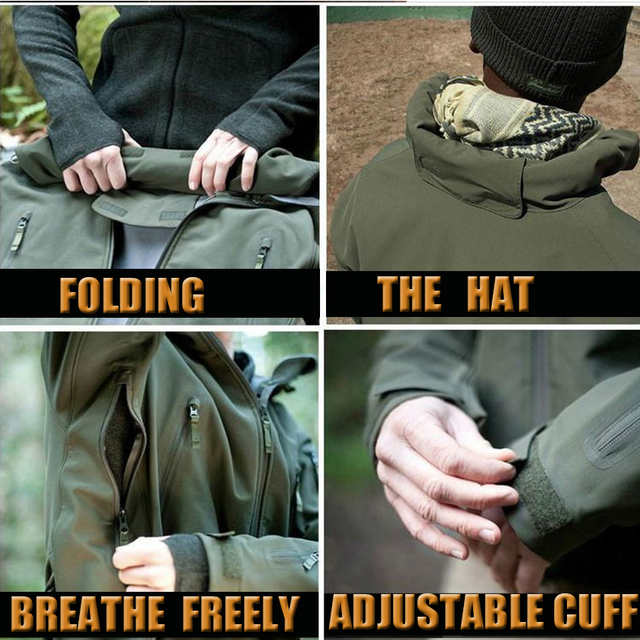 HAN WILD Tactical Jackets Hunting Suit Men Soft Shell Jacket Army Windproof Camo Shark Skin Military Hiking Jacket+Pants 5XL 5