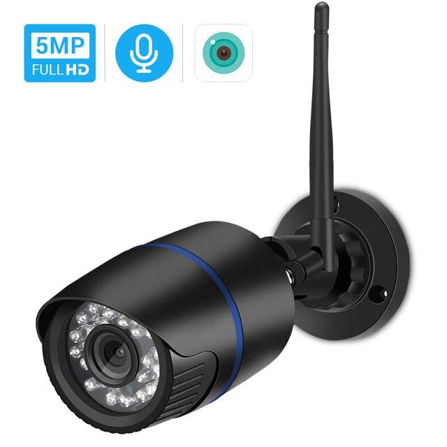 Hamrolte caméra de surveillance Bullet extérieure IP Wifi 5MP, étanche, sans fil, avec enregistrement Audio IE, navigateur internet Xmeye Cloud RTSP iCSee