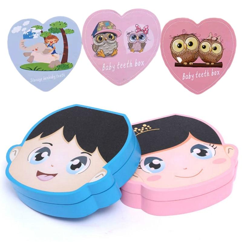Espanhol inglês cor de madeira caixa do dente do bebê menino menina organizador de armazenamento de dentes leite recolher dentes umbilical salvar para presentes recém-nascidos