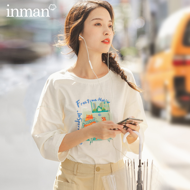 INMAN White T-Shirt 2020 Spring New Arrival Arty Causal Round Collar Interesting Cat Pattern Comfortable Cotton T-Shirt