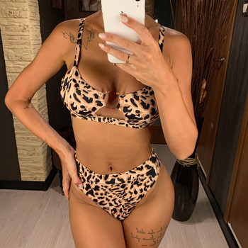 Sexy Women High Waist Bikini Swimsuit Swimwear Female Bandeau Print Thong Biquini Bikini Set Bathing Suit Bather Two Piece Suits цена 2017
