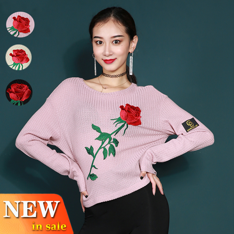Latin Dance Costume Modern Dance Tops Exercise Clothes Female Ballroom Dance New Long Sleeved Shirt Rose Latin Dance Tops L2872