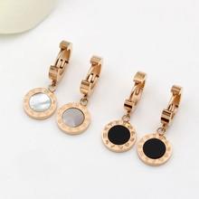 Luxury Brand Twelve Constellations Design Women Earrings Rose Gold-color White Black Shell Circular Surface Roman Letter Earring