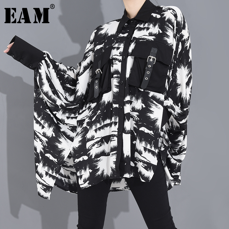 [EAM] Women Black Pattern Printed Big Size Blouse New Lapel Long Sleeve Loose Fit Shirt Fashion Tide Spring Summer 2020 1R65001