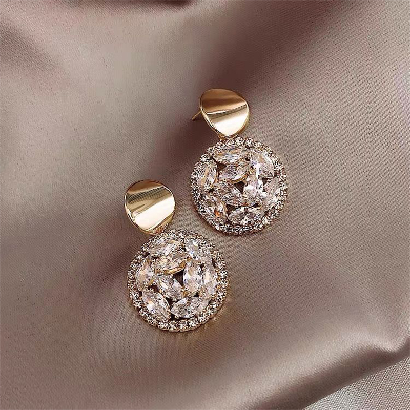 Rhinestone Statement Earrings Geometric Big Round Stud Earrings For Women Crystal Luxury Wedding Gift