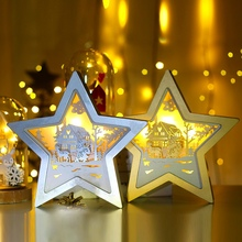 1PC Wooden Star Shaped Lamp Christmas Ornament Holiday Home Decor Night Light Bedside Festival Decoration