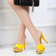 Candy Color Woman Wedding Shoes Sandals 2020 Nightclub Sexy High Heels 13cm Slides Slippers Heels Waterproof Sandal Summer Pumps