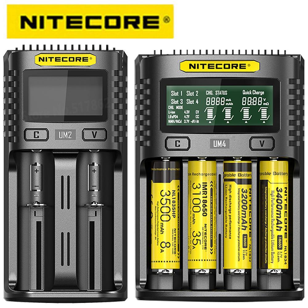 100% оригинальное зарядное устройство Nitecore UM4 UM2 USB QC, интеллектуальная электронная схема, глобальная страховка, li-ion AA AAA 18650 21700 26650