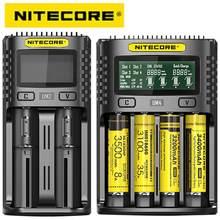 100% original nitecore um4 um2 usb carregador de bateria qc circuitos inteligentes seguro global li-ion aa aaa 18650 21700 26650