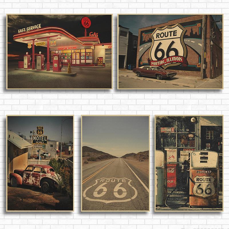 АЗС на Route 66 из США крафт-бумага классический постер кафе гостиная столовая настенные декоративные картины