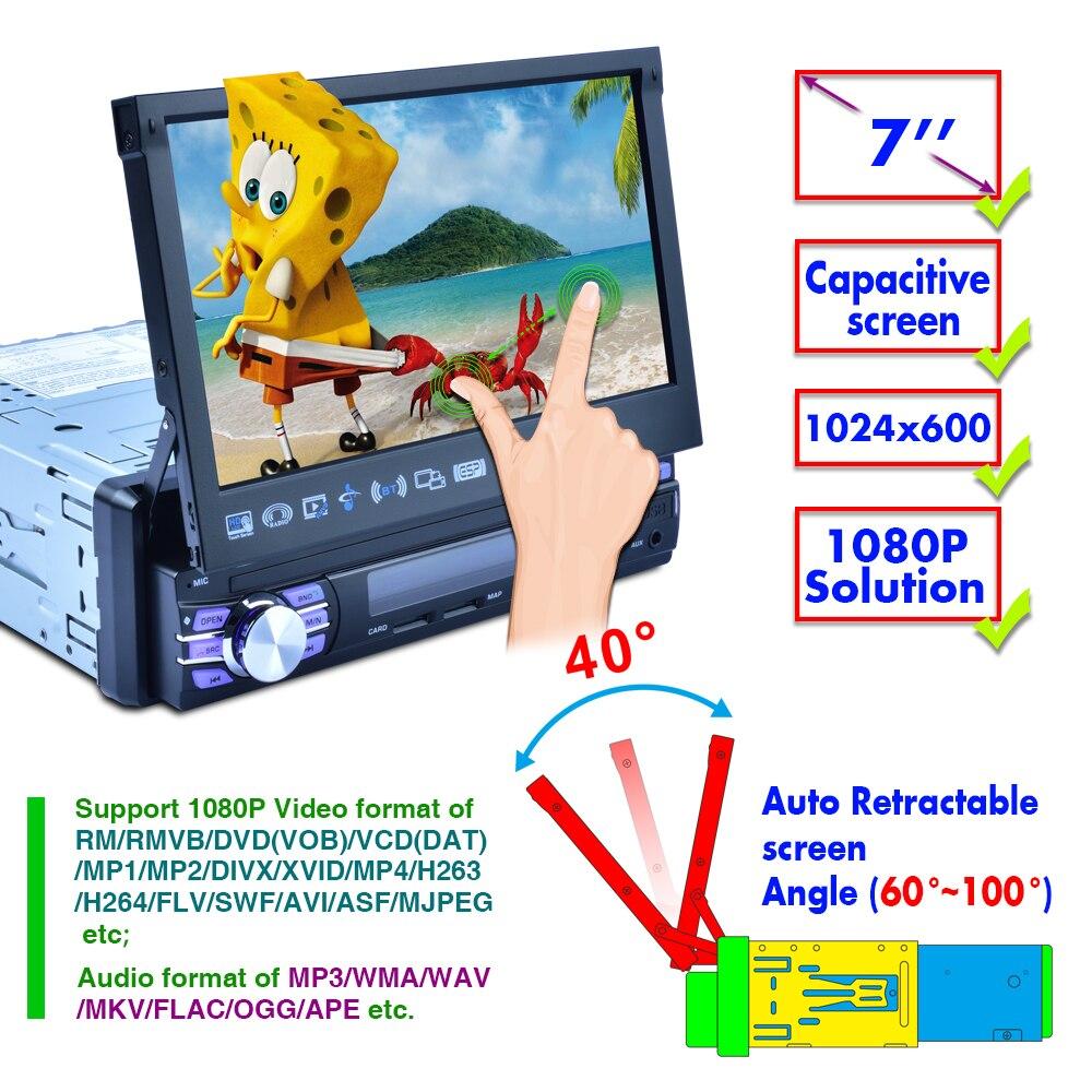 1 Din autoradio GPS Navigation automatique rétractable écran miroir lien Bluetooth stéréo AM/FM/RDS Radios intégrées WIFI