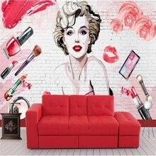 Mural Wallpaper Background Cosmetics Nail-Salon Brick Industrial-Decor American 3D Makeup-Shop