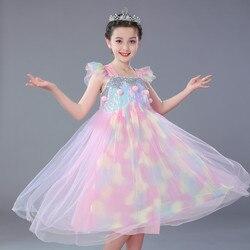 Disney Frozen Kids Dresses for Girls Costume Princess Halloween Christmas Party Cosplay Children's Clothing Unicorn 2019 New