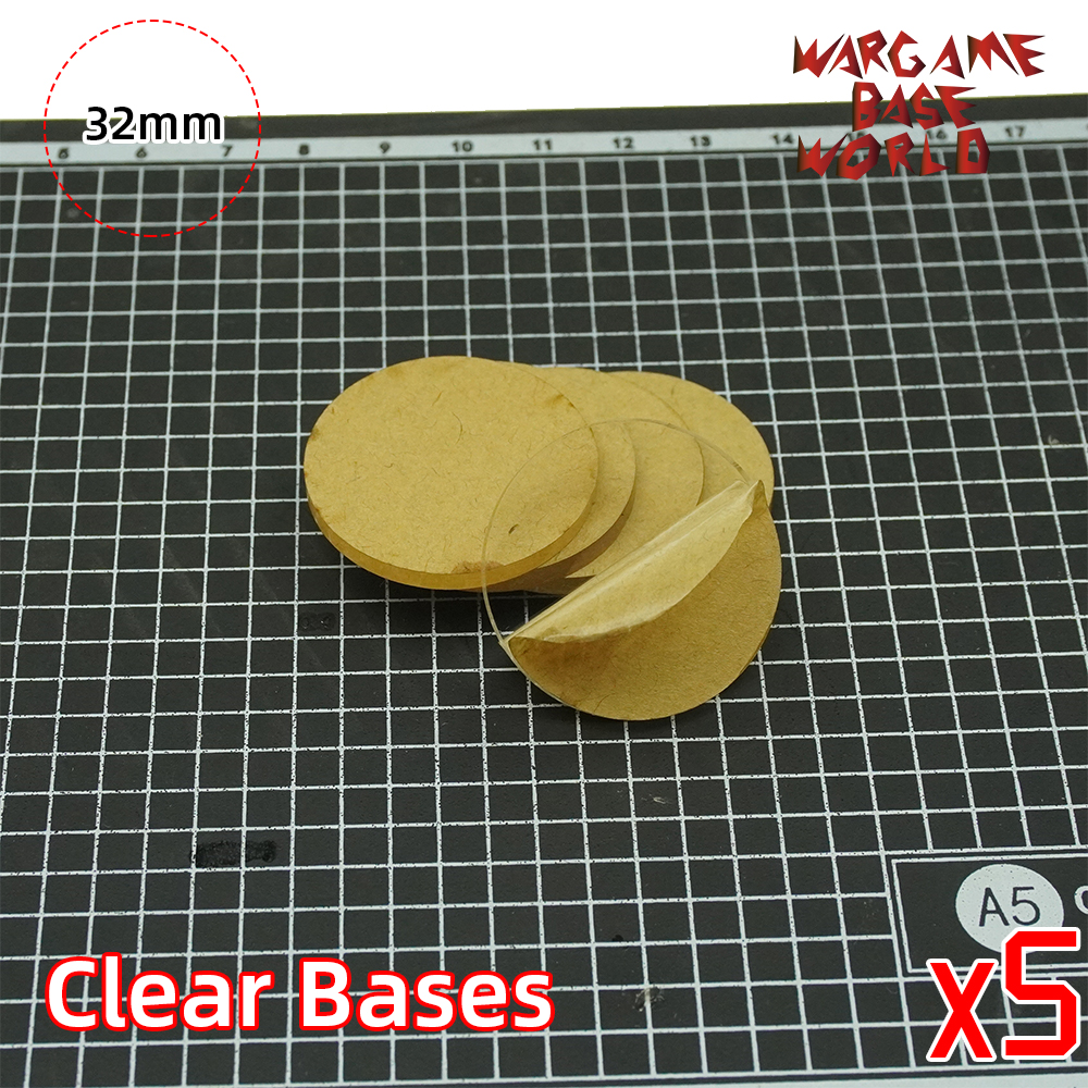 Wargame Base World - TRANSPARENT / CLEAR BASES For Miniatures - 32mm Clear Bases