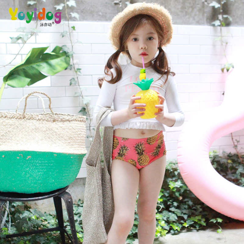 2018 New Style Hot Sales Two-piece Swimsuits Send Swimming Cap Long Sleeve Sun-resistant Hot Springs Cartoon Hipster Girls KID'S
