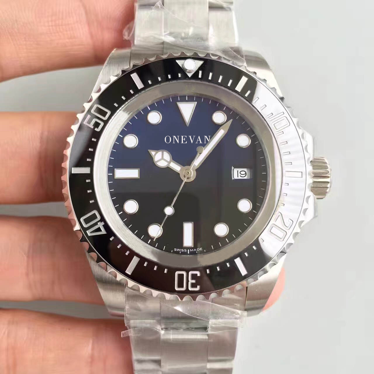 D-Blue <font><b>Deep</b></font> aaa Ceramic Bezel <font><b>SEA</b></font> Date Sapphire Cystal Stainless Steel With Glide Lock Clasp Automatic Mechanical Dwelle <font><b>Watches</b></font> image