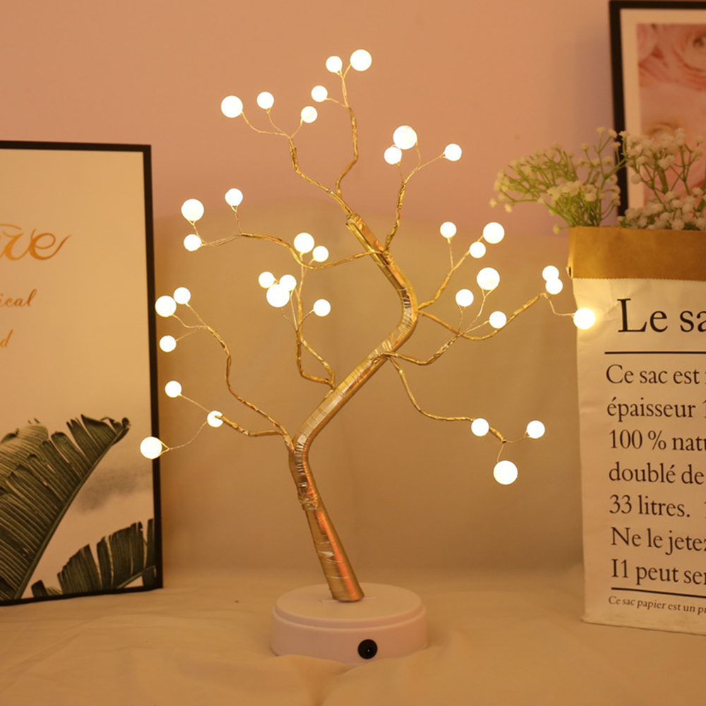 36LED Pearls Tree Lamp LED Battery&USB Decorative Table Night Light Decor For Valentine's Day Party Wedding Bedroom
