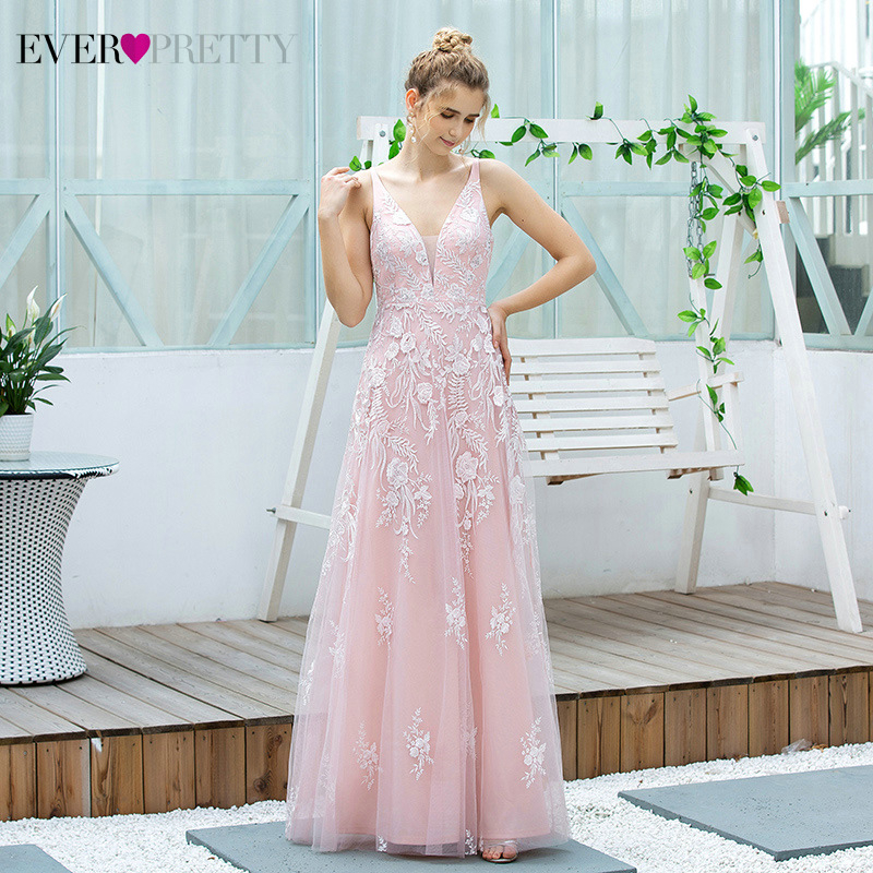 Pink Floral Lace Prom Dresses Ever Pretty A-Line Deep V-Neck Sleeveless Appliques Tulle Draped Long Party Gowns Vestido Festa