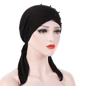 Image 2 - מוסלמי נשים בנדנה חיג אב כובע סרטן כימותרפיה כובע שיער אובדן ראש צעיף טורבן לעטוף Islmaic Headwear חרוזים למתוח הערבי Underscarf