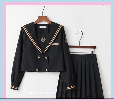 Однобортная школьная форма Jk; милый повседневный костюм моряка для девочек; Jpanese Kawaii; изысканный элегантный костюм с вышивкой и бантом - Цвет: long short