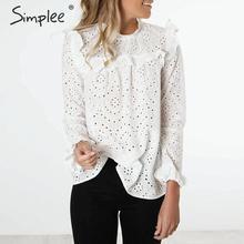 Simplee feminino doce oco para fora camisas babados ver através de manga longa blusa plissada senhoras primavera bonito branco topos blusas 2020