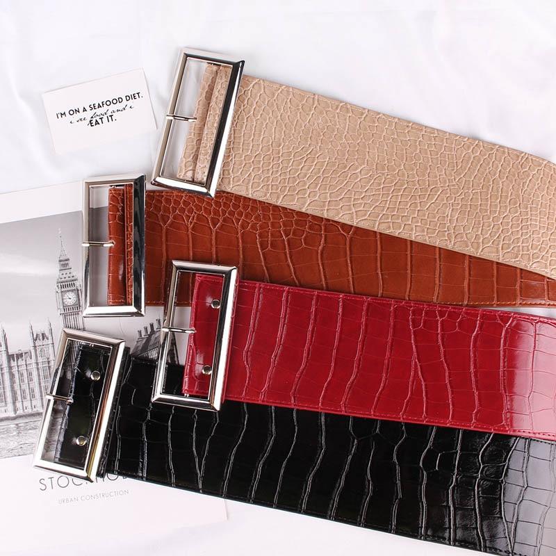 Crocodile Pattern Decorate Pin Buckle 9.5cm Width Belt Fashion Woman Belts