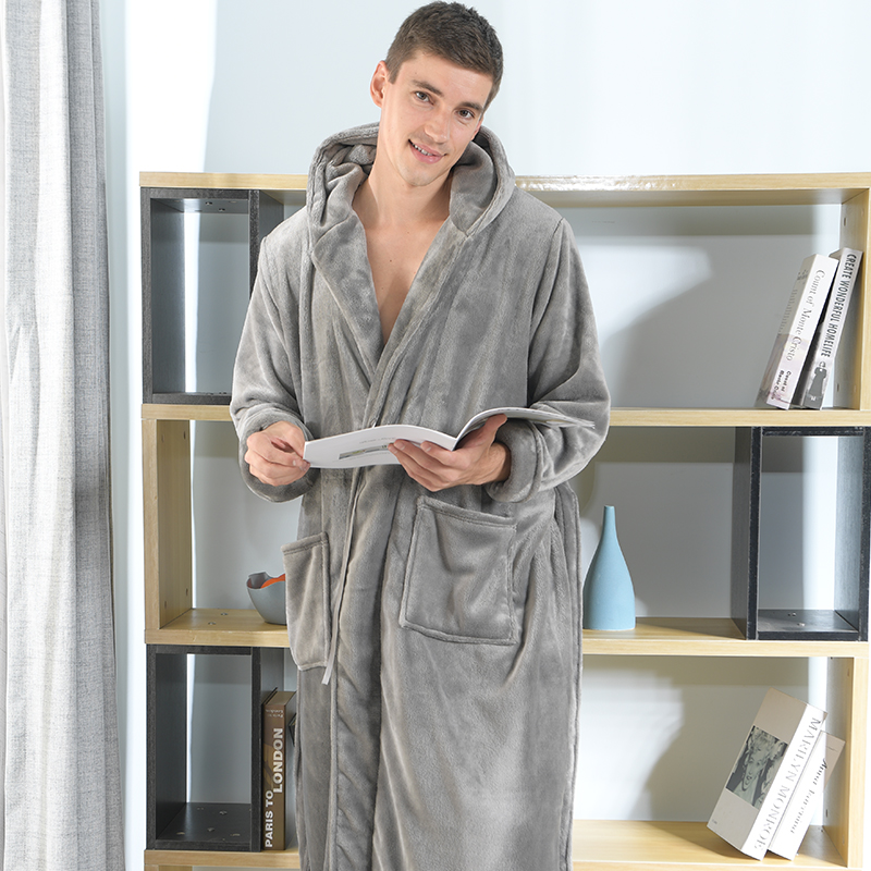 Tmallfs New Men Plus Large Size Soft Flannel Bathrobe Male Winter Bath Robe Man Extra Long Loose Hooded Warm Robes Dressing Gown
