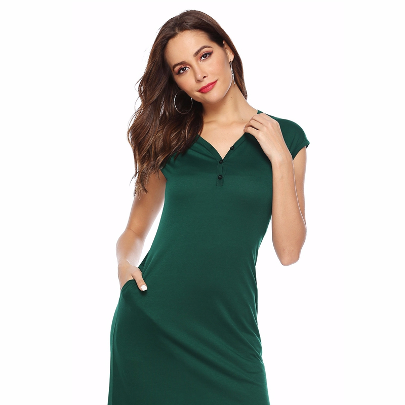 Women Summer Short Sleeve Elastic Casual Dress Fashion Pocket Streetwear Irregular Robe Femme Long Maxi Dress Bandage Vestidos in Dresses from Women 39 s Clothing