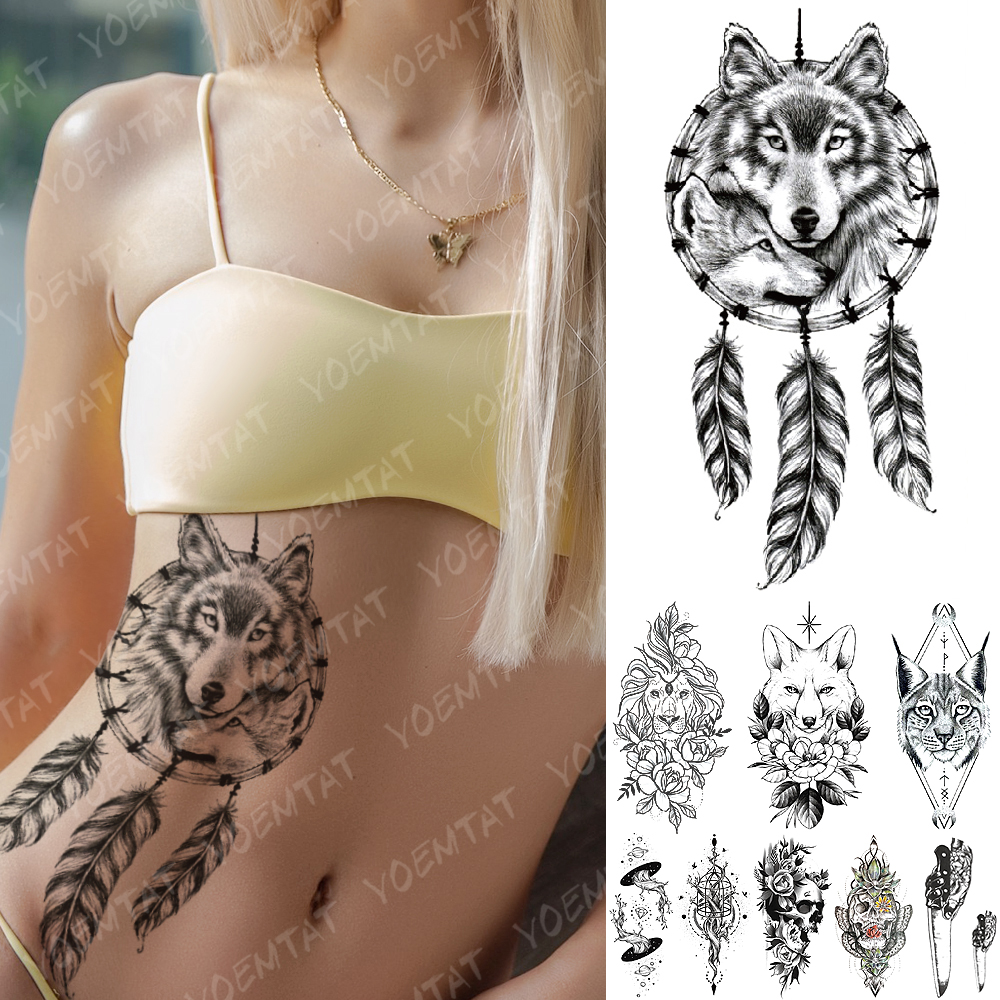 Waterproof Temporary Tattoo Sticker Wolf Dreamcatcher Fox Lion Flower Flash Tattoos Universe Body Art Arm Fake Tatoo Women Men