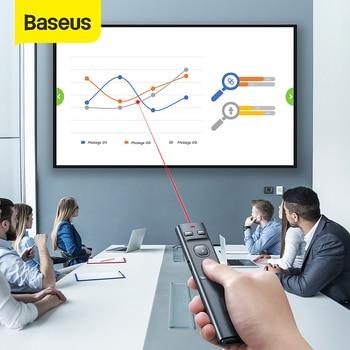 Baseus USB Wireless Presenter Red Laser Pointer PPT Remote Control Pointer Pen for PowerPoint Presentation Teacher Meeting Pen