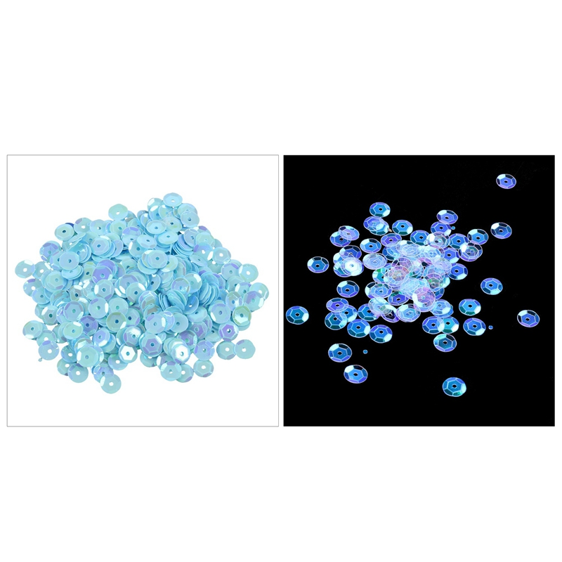 800 Pieces Round Cut Sequins Sequins Seeds DIY Sewing Decoration - Blue & White